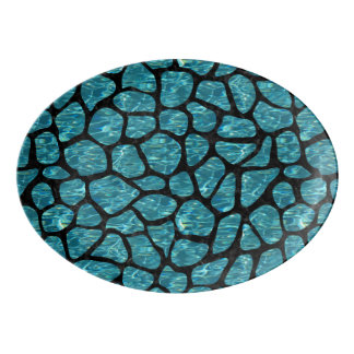 SKIN1 BLACK MARBLE & BLUE-GREEN WATER PORCELAIN SERVING PLATTER