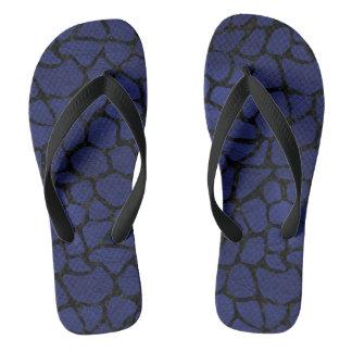 SKIN1 BLACK MARBLE & BLUE LEATHER FLIP FLOPS