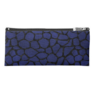 SKIN1 BLACK MARBLE & BLUE LEATHER PENCIL CASE