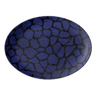 SKIN1 BLACK MARBLE & BLUE LEATHER PORCELAIN SERVING PLATTER