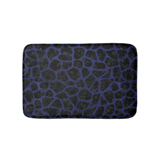 SKIN1 BLACK MARBLE & BLUE LEATHER (R) BATH MAT