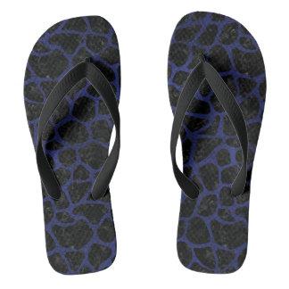 SKIN1 BLACK MARBLE & BLUE LEATHER (R) FLIP FLOPS
