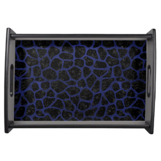 SKIN1 BLACK MARBLE & BLUE LEATHER (R) SERVING TRAY