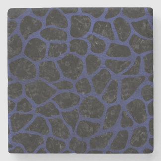 SKIN1 BLACK MARBLE & BLUE LEATHER (R) STONE COASTER