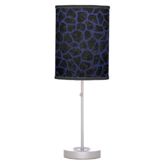 SKIN1 BLACK MARBLE & BLUE LEATHER (R) TABLE LAMP