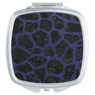 SKIN1 BLACK MARBLE & BLUE LEATHER (R) TRAVEL MIRRORS