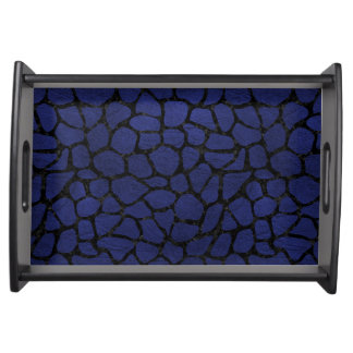 SKIN1 BLACK MARBLE & BLUE LEATHER SERVING TRAY