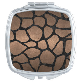 SKIN1 BLACK MARBLE & BRONZE METAL COMPACT MIRRORS