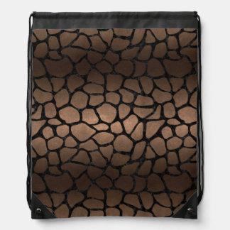 SKIN1 BLACK MARBLE & BRONZE METAL DRAWSTRING BAG