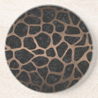 SKIN1 BLACK MARBLE & BRONZE METAL (R) COASTER