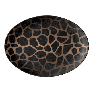 SKIN1 BLACK MARBLE & BRONZE METAL (R) PORCELAIN SERVING PLATTER