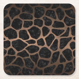 SKIN1 BLACK MARBLE & BRONZE METAL (R) SQUARE PAPER COASTER