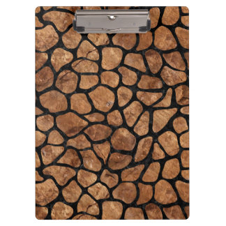 SKIN1 BLACK MARBLE & BROWN STONE CLIPBOARD