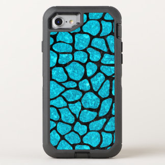 SKIN1 BLACK MARBLE & TURQUOISE MARBLE OtterBox DEFENDER iPhone 8/7 CASE
