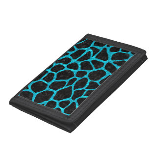 SKIN1 BLACK MARBLE & TURQUOISE MARBLE (R) TRI-FOLD WALLET