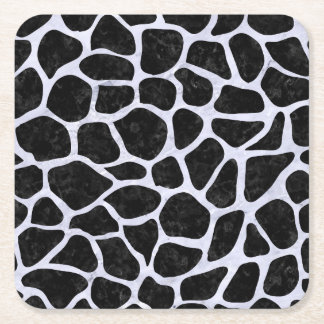 SKIN1 BLACK MARBLE & WHITE MARBLE (R) SQUARE PAPER COASTER