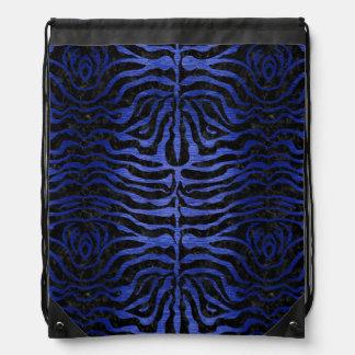 SKIN2 BLACK MARBLE & BLUE BRUSHED METAL DRAWSTRING BAG