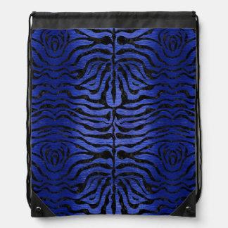 SKIN2 BLACK MARBLE & BLUE BRUSHED METAL (R) DRAWSTRING BAG