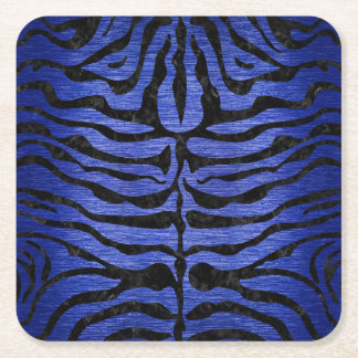 SKIN2 BLACK MARBLE & BLUE BRUSHED METAL (R) SQUARE PAPER COASTER