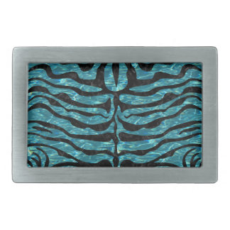 SKIN2 BLACK MARBLE & BLUE-GREEN WATER (R) RECTANGULAR BELT BUCKLE