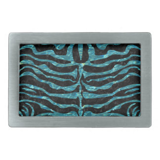 SKIN2 BLACK MARBLE & BLUE-GREEN WATER RECTANGULAR BELT BUCKLE