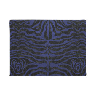 SKIN2 BLACK MARBLE & BLUE LEATHER DOORMAT