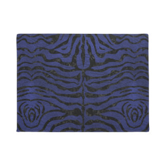 SKIN2 BLACK MARBLE & BLUE LEATHER (R) DOORMAT