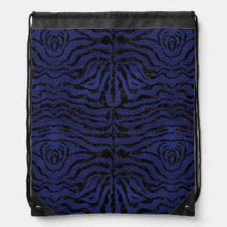 SKIN2 BLACK MARBLE & BLUE LEATHER (R) DRAWSTRING BAG