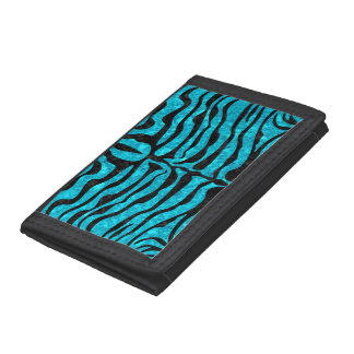 SKIN2 BLACK MARBLE & TURQUOISE MARBLE (R) TRI-FOLD WALLET