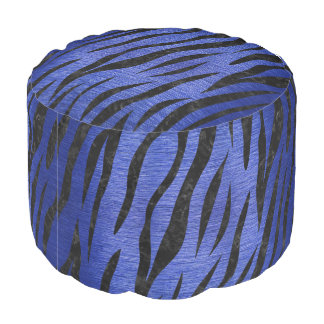 SKIN3 BLACK MARBLE & BLUE BRUSHED METAL (R) POUF