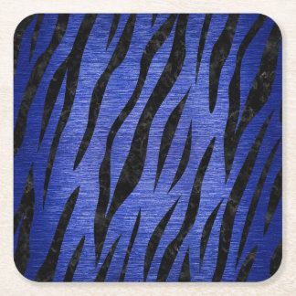 SKIN3 BLACK MARBLE & BLUE BRUSHED METAL (R) SQUARE PAPER COASTER