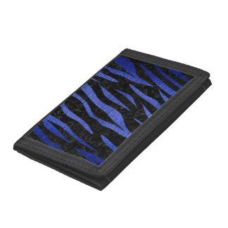 SKIN3 BLACK MARBLE & BLUE BRUSHED METAL TRIFOLD WALLETS