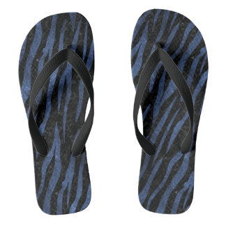 SKIN3 BLACK MARBLE & BLUE LEATHER FLIP FLOPS
