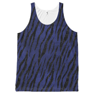 SKIN3 BLACK MARBLE & BLUE LEATHER (R) All-Over-Print TANK TOP