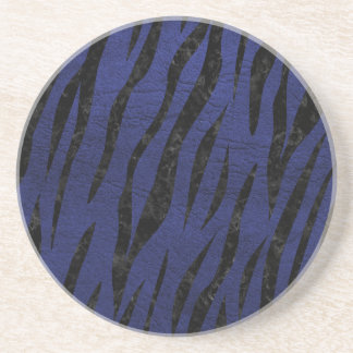 SKIN3 BLACK MARBLE & BLUE LEATHER (R) COASTER