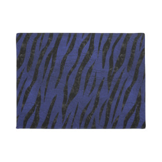 SKIN3 BLACK MARBLE & BLUE LEATHER (R) DOORMAT