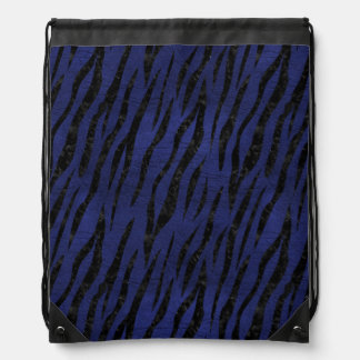 SKIN3 BLACK MARBLE & BLUE LEATHER (R) DRAWSTRING BAG