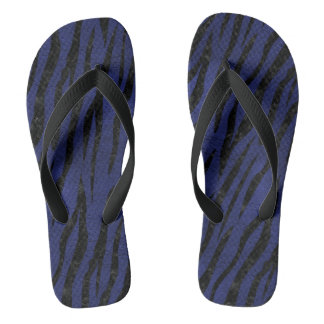 SKIN3 BLACK MARBLE & BLUE LEATHER (R) FLIP FLOPS