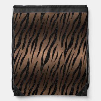 SKIN3 BLACK MARBLE & BRONZE METAL (R) DRAWSTRING BAG