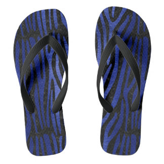 SKIN4 BLACK MARBLE & BLUE BRUSHED METAL (R) FLIP FLOPS