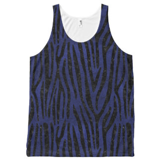 SKIN4 BLACK MARBLE & BLUE LEATHER All-Over-Print TANK TOP