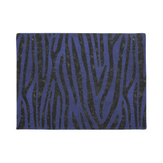 SKIN4 BLACK MARBLE & BLUE LEATHER DOORMAT