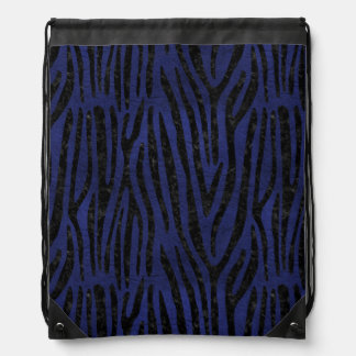 SKIN4 BLACK MARBLE & BLUE LEATHER DRAWSTRING BAG