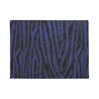SKIN4 BLACK MARBLE & BLUE LEATHER (R) DOORMAT