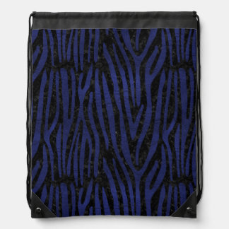 SKIN4 BLACK MARBLE & BLUE LEATHER (R) DRAWSTRING BAG