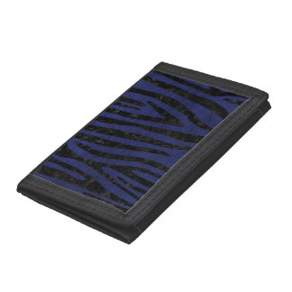 SKIN4 BLACK MARBLE & BLUE LEATHER TRI-FOLD WALLETS