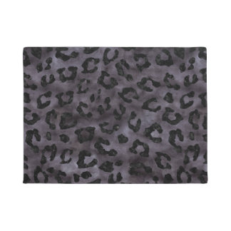 SKIN5 BLACK MARBLE & BLACK WATERCOLOR DOORMAT