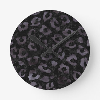 SKIN5 BLACK MARBLE & BLACK WATERCOLOR (R) ROUND CLOCK