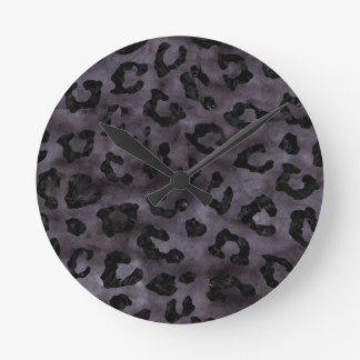 SKIN5 BLACK MARBLE & BLACK WATERCOLOR ROUND CLOCK
