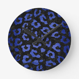SKIN5 BLACK MARBLE & BLUE BRUSHED METAL (R) ROUND CLOCK